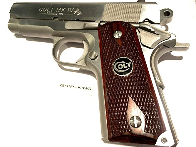 compact 1911 grips,sale $43 73,fits 3-4 inch barrel colt  officers,defenders  rare burled cocobolo wood ,black & silver colt  medallions fitted in