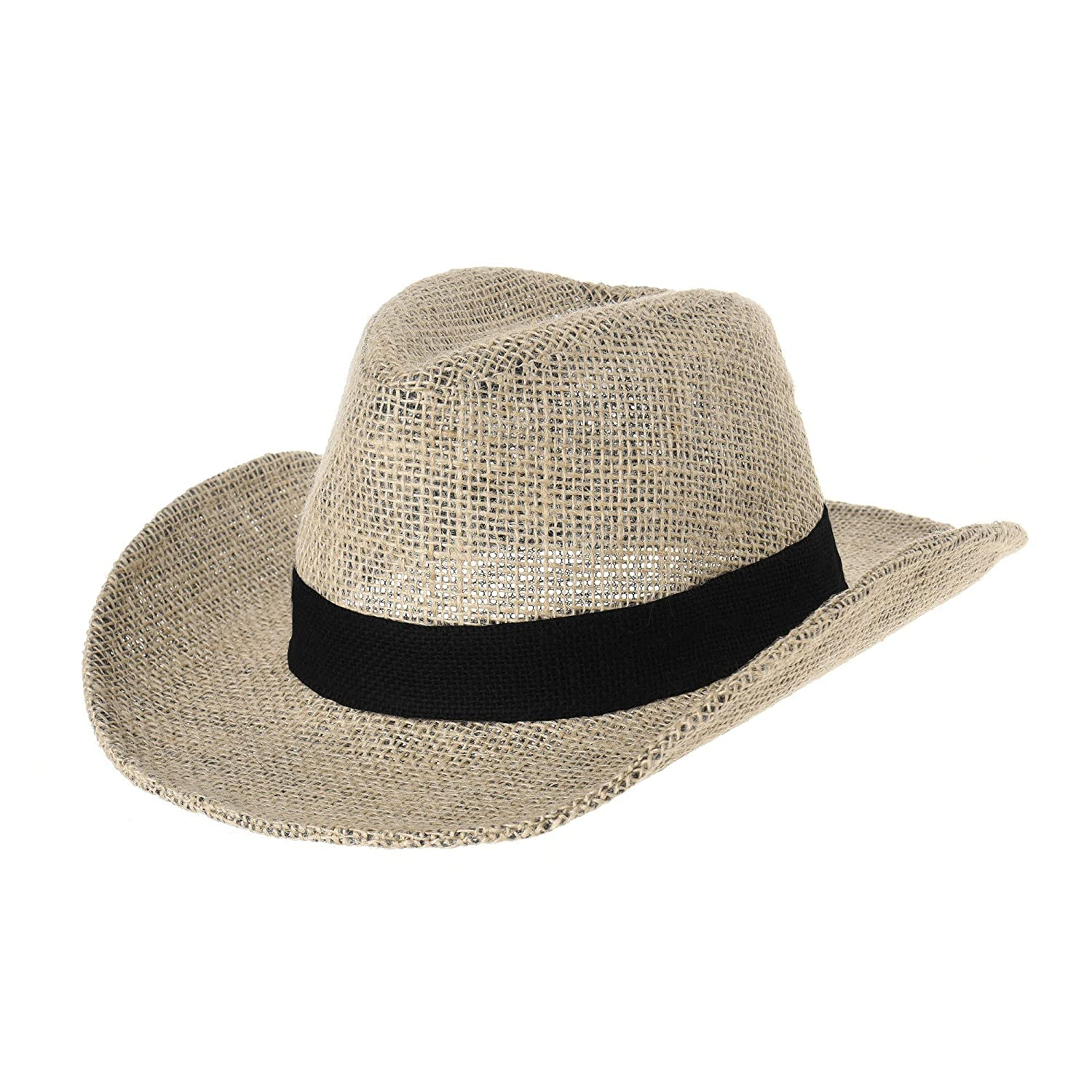 WITHMOONS Cowboy Cappello a tesa larga Western Cowboy Hat Paper Straw Linen Fedora Panama Hat DW8659 DW8659Beige