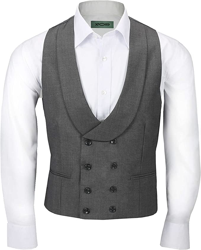 Edwardian Titanic Men's Formal Tuxedo Guide Xposed Men's Vintage Double Breasted Shawl Lapel Waistcoat Tailored Fit Smart Wedding Dress Tux Vest £31.99 AT vintagedancer.com