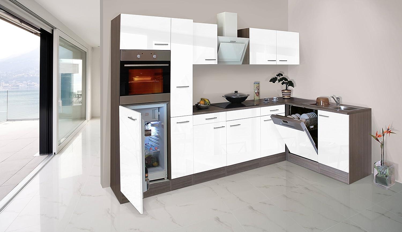 respekta Economy L-Form Winkel Küche Küchenzeile Eiche York weiss 310x172cm