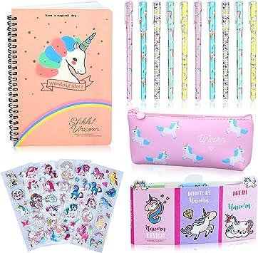 Ensemble de 10 stylos /à bille 1 trousse et 1 carnet /à motifs licorne id/éal en cadeau d/'anniversaire pour fille Vert