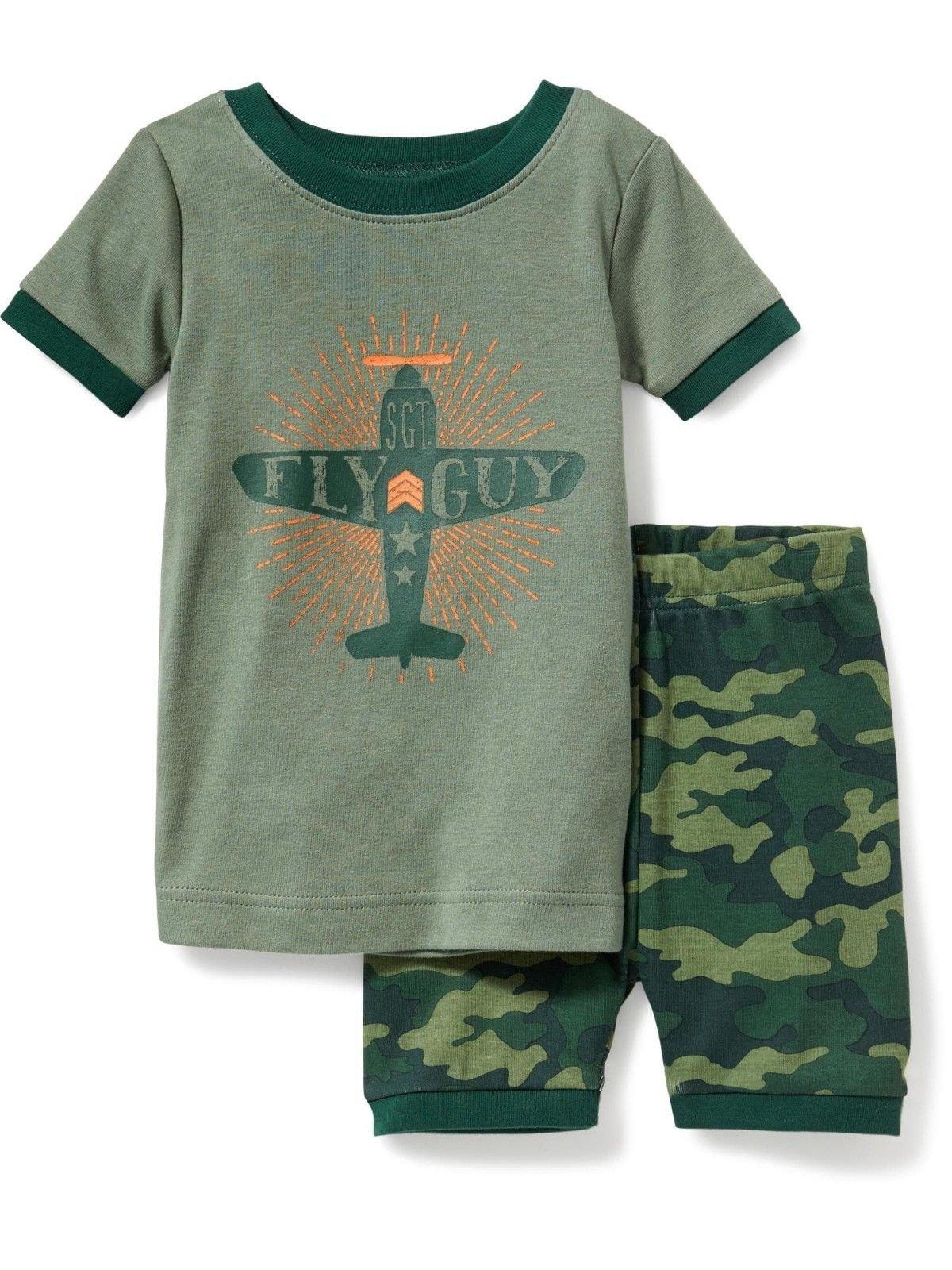 Toddler Boy's 4T Camouflage Airplane Sergeant Pajama Shorts Set