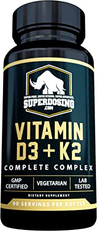 [90 Days] Max Strength, 2 in 1 D3 and K2 with 10,000 iu Vit D and 1,500 mcg Vit K. D3K2 Supplements Promote Bone and Heart Health. D3-K2 MK4 Supplement Capsule Boosts Immune System. Best K2D3 Vitamin
