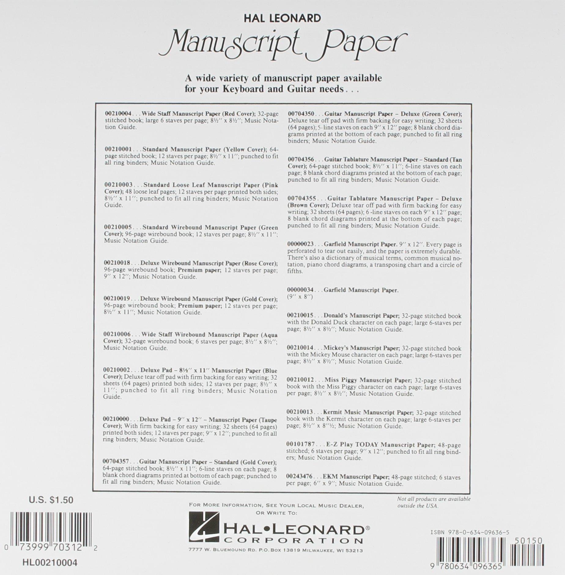 wide staff manuscript paper red cover hal leonard corp