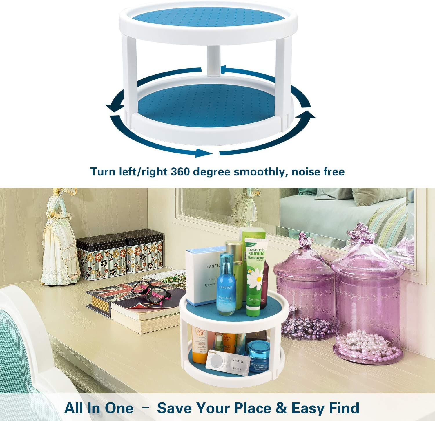 9inch Rotating Kitchen Spice Organization for Pantry Countertop Shelf Vanity Table Bathroom Condiment Display Stand ledorr 2-Tier Non-Slip Spinning Rack Turntable Cabinet Organizer Lazy Susan