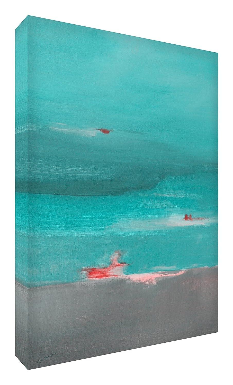 Feel Good Art Leinwand leuchtenden Farben Abstrakt gehören des Künstlers Val Johnson Aqua Landschaft 115x 78x 4cm Größe XXL