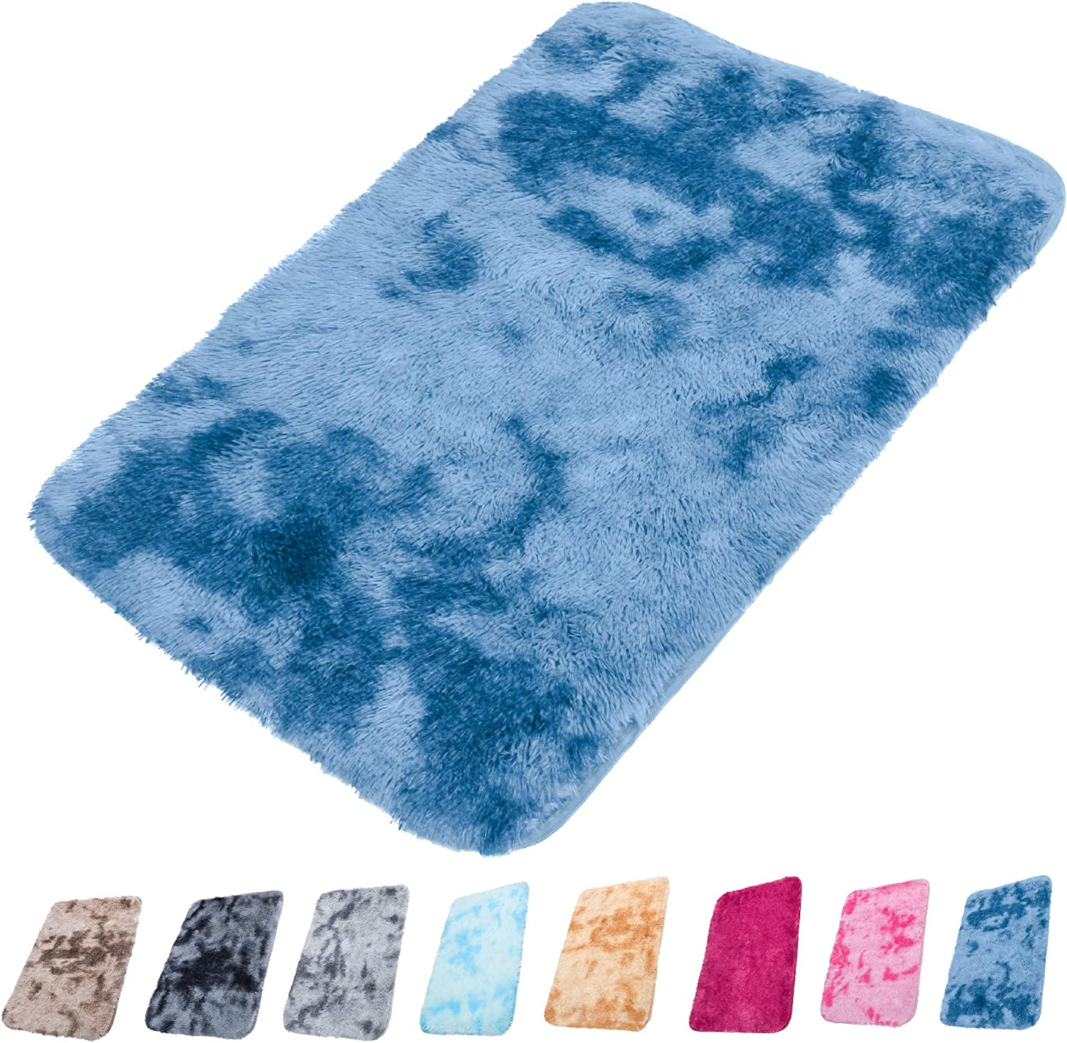 Orgrimmar Ultra Soft Indoor Modern Carpet Silky Smooth Rugs Living Room Area Rugs Suitable for Children Play Home Decorator Floor Bedroom Carpet (2'x3', Navy Blue Tie Dye)