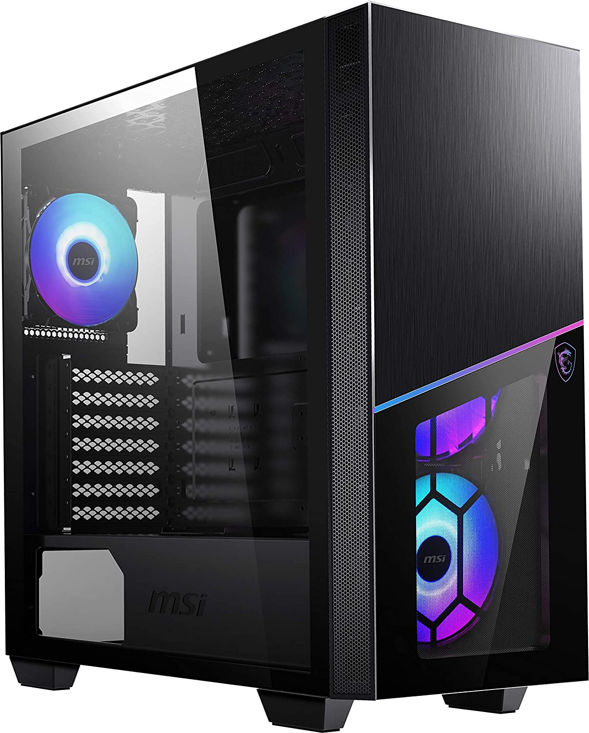 MSI Premium Mid-Tower PC Gaming Case – Tempered Glass Side Panel – RGB 120mm Fan – Liquid Cooling Support up to 360mm Radiator x 1 – Cable Management System – MPG SEKIRA 100R