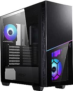 MSI Premium Media Tower PC Gaming Case - Panel Lateral de Vidrio Templado - Ventilador RGB 120mm - Soporte de refrigeración líquida hasta 360 mm x 1 - Sistema de gestión de Cables - MPG SEKIRA 100R