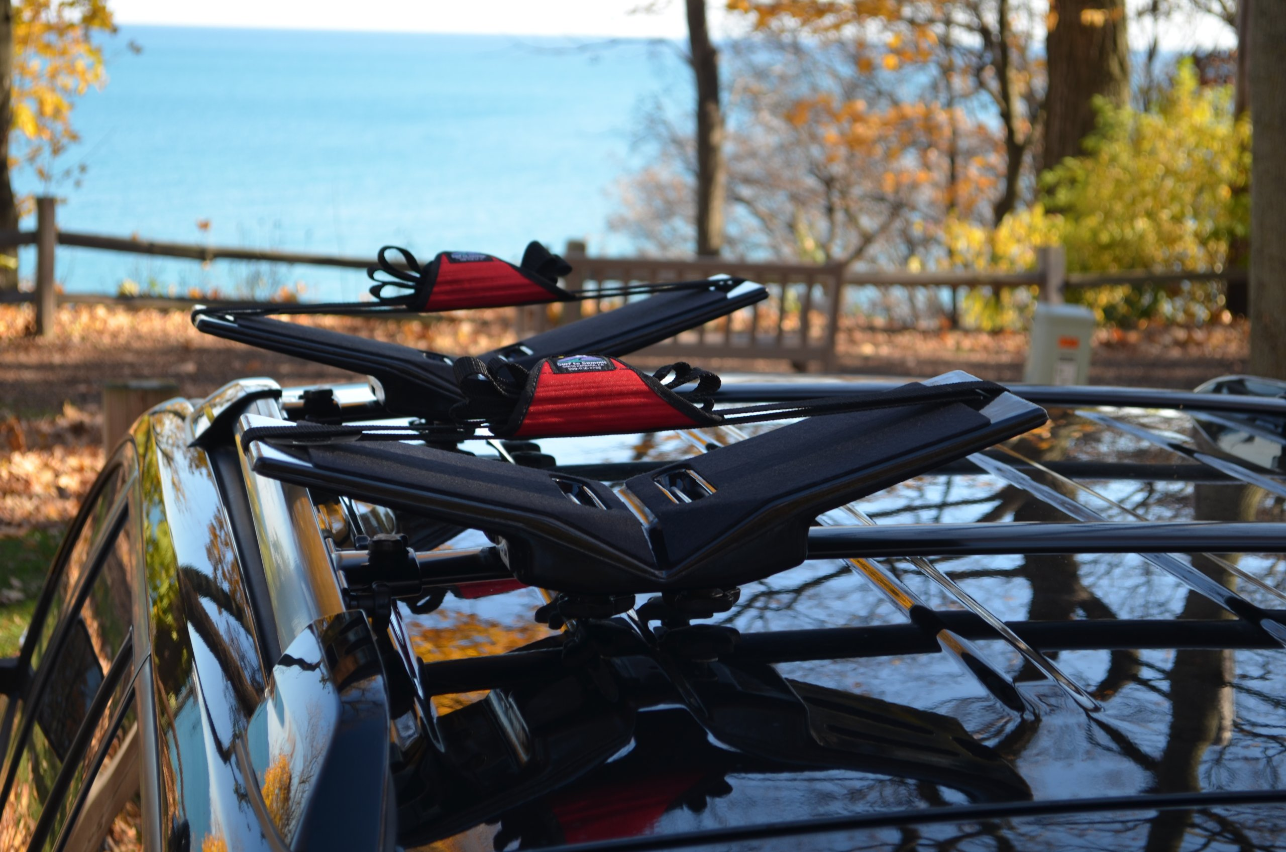 The Kayak Wing - Sea Kayak Rack with Covered Straps for Boats Under 30'' Wide by Great Lakes Kayak LLC