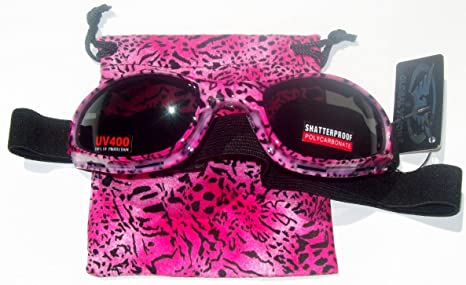259970a256 Image Unavailable. Image not available for. Color  Pink Leopard Cheetah Motorcycle  Goggles Shaded Padded Womens Lady Sunglasses