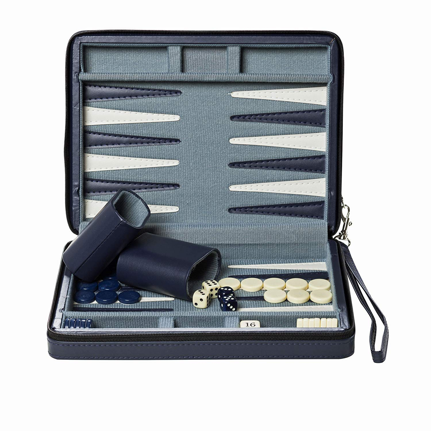 Wood Expressions WE Games Blue Magnetic Backgammon Set with Carrying Strap - Travel Size by WE Games (Image #5)
