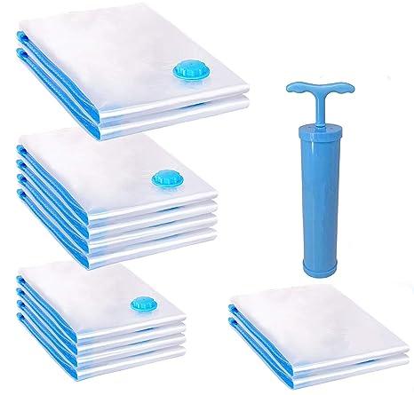 Space Saver Bolsa de vacío | Bolsa de almacenamiento de vacío reutilizable | Bolsa de compresion al vacio | (2 Roll Up, 4 Small, 4 Medium, 2 Jumbo +) ...