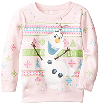 Amazon.com: Frozen Little Girls' Olaf Christmas Sweater, Light ...
