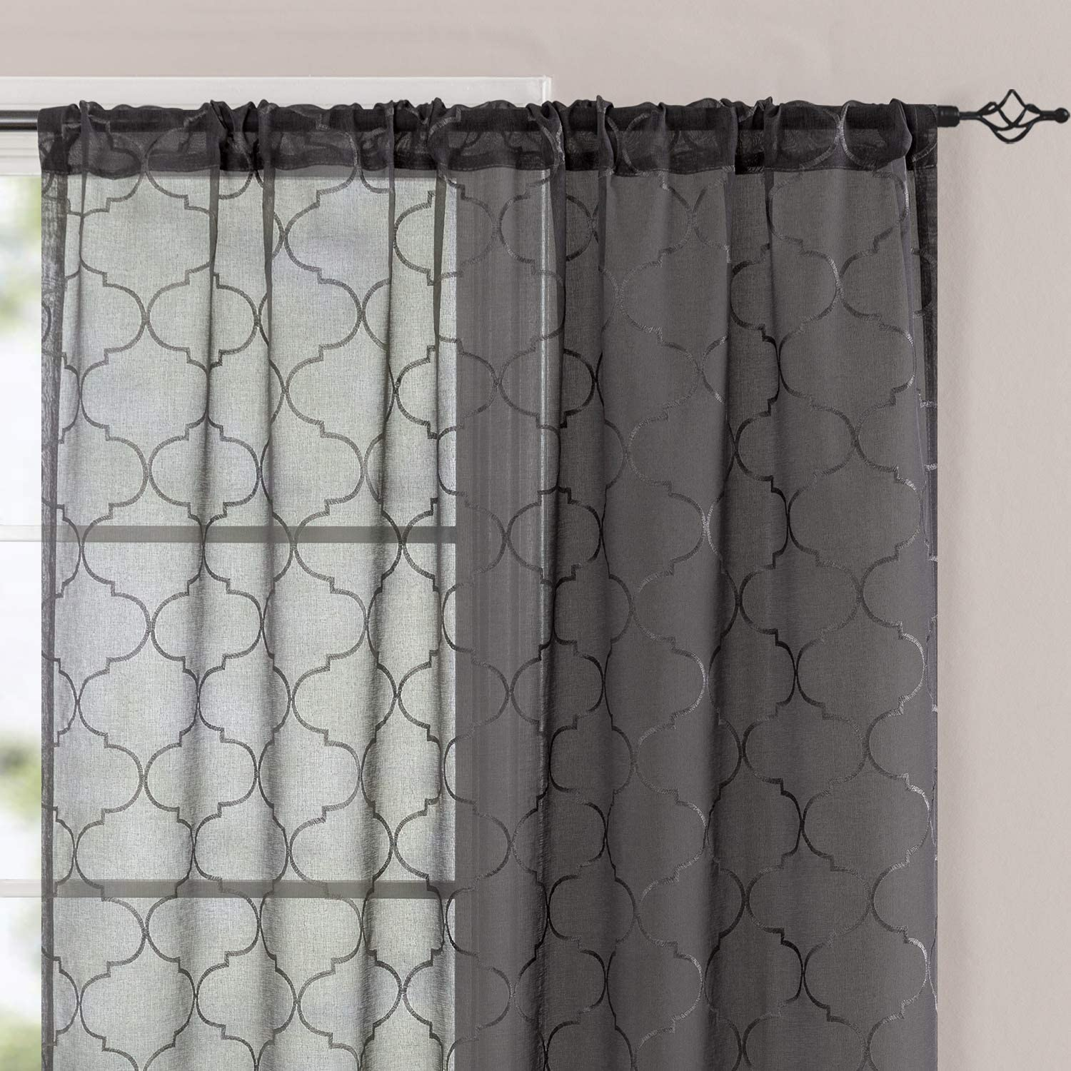 Amazon Com Sheer Curtains Geometric For Living Room Moroccan Embroidered Curtains For Bedroom Rod Pocket Lattice Quatrefoil Semi Sheer Curtain Drapes 63 Inch Length Window Treatments Grey 2 Panels Kitchen Dining