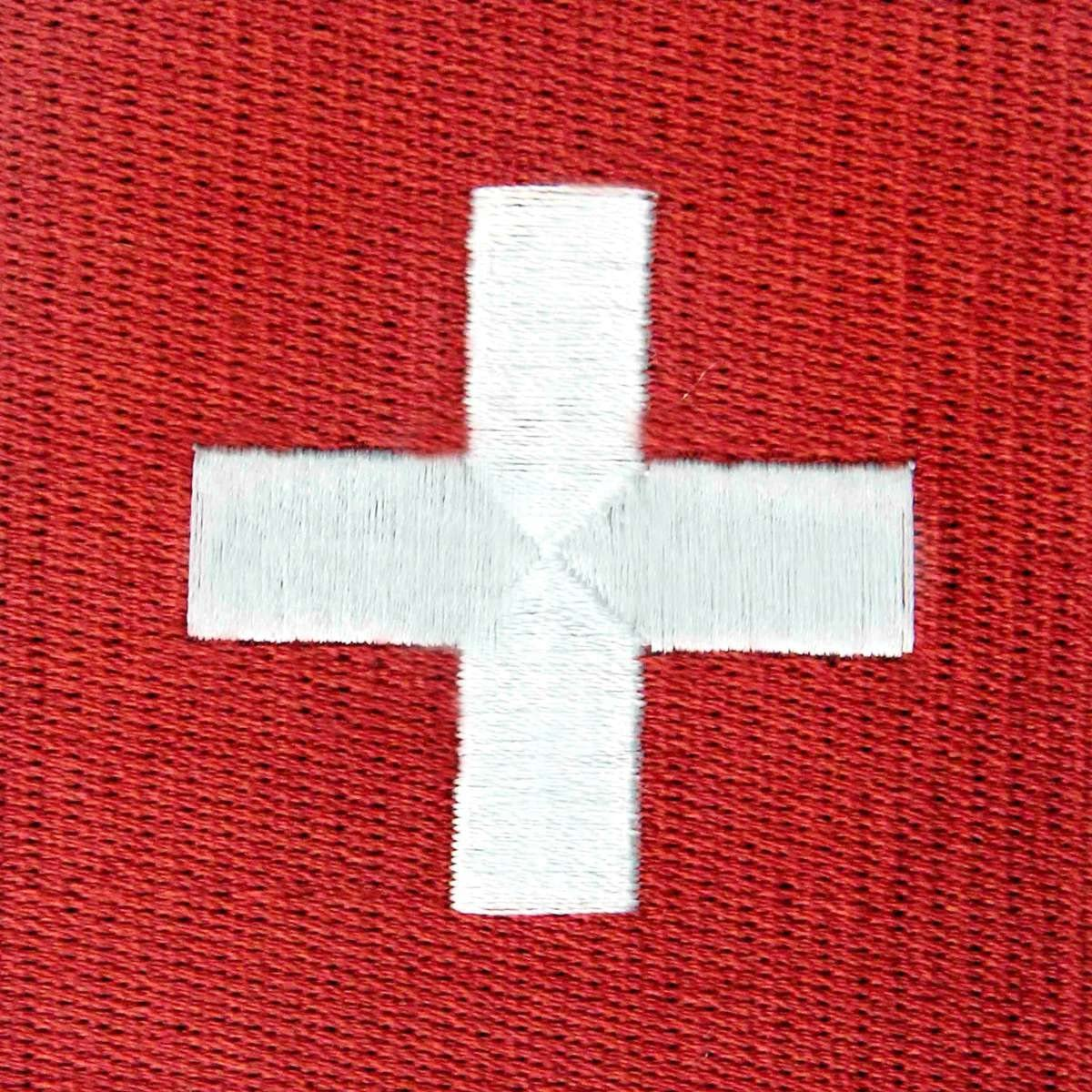 SWITZERLAND Flag Embroidered Iron-On Patch Military Emblem Gold Border