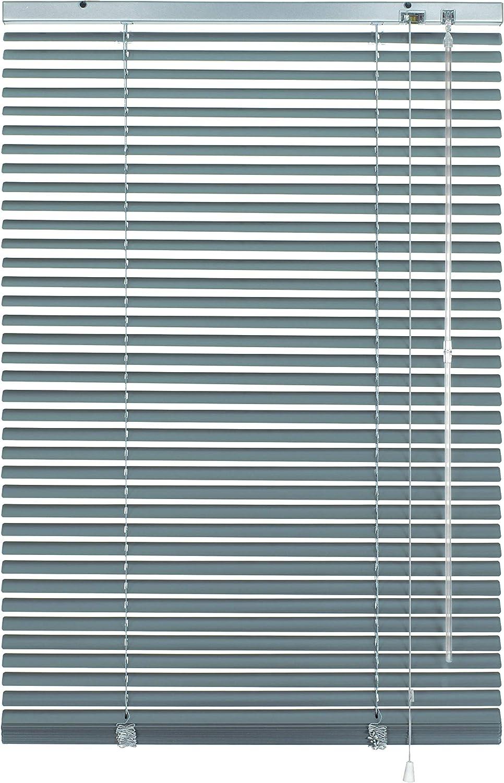 Deco Company - Persiana de aluminio, protección visual, de luz y antideslumbramiento, montaje en pared y techo, aluminio, plateado/azul, 80 cm x 220 cm