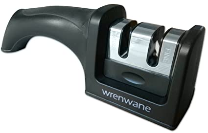 Wrenwane Kitchen Knife Sharpener   Designed For Safety, 2 Stage Sharpening,  Black