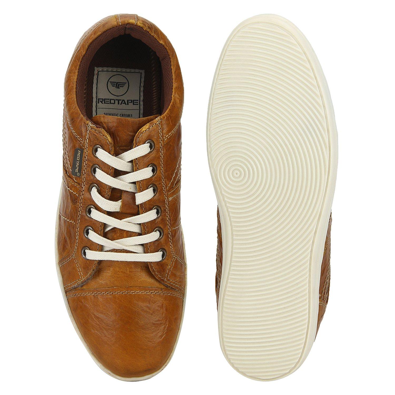 Buy Red Tape Men's Tan Leather Sneakers