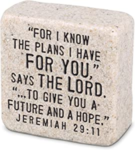 Lighthouse Christian Products Plans for Hope and Future Scripture Block 2.25 x 2.25 Cast Stone Plaque