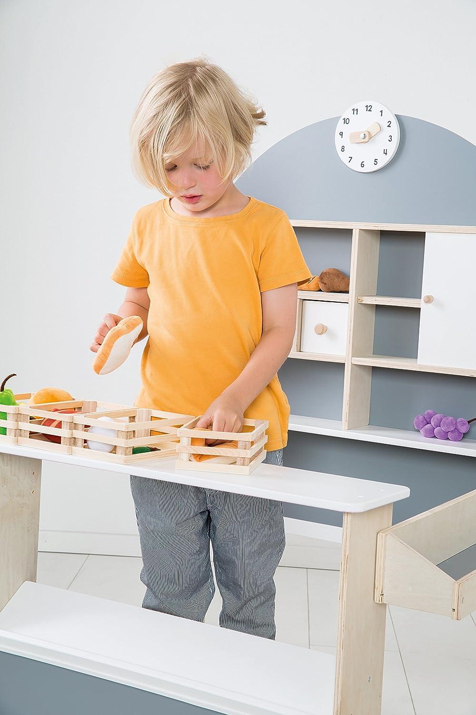 roba Kaufladen Verkaufsstand mit Theke und Seitentheke Kinder Kaufmannsladen aus Holz