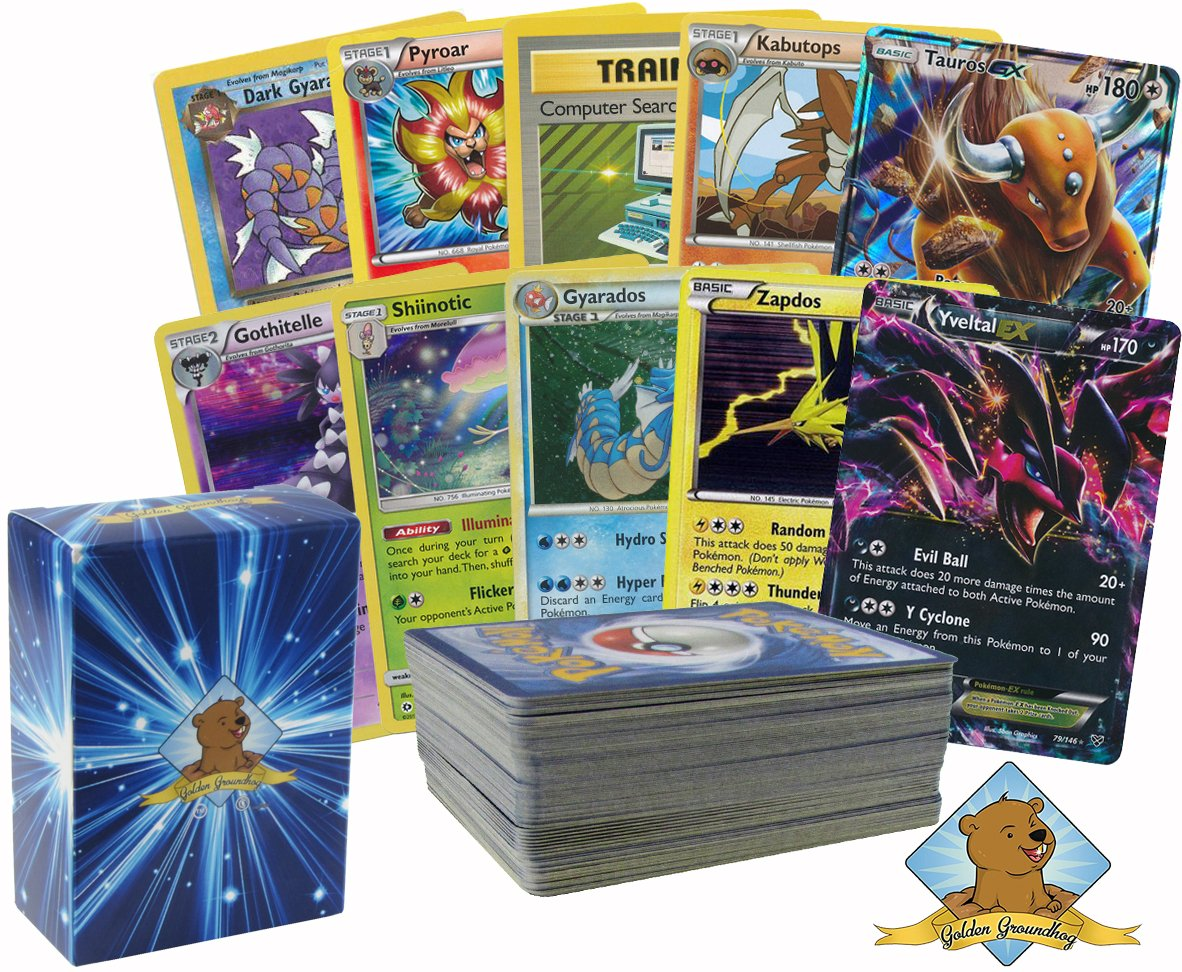 Golden Groundhog Pokemon: 100 Card Lot Rare, Common, Uncommon, Holo with 1 EX and 1 GX Cards! Includes Box!