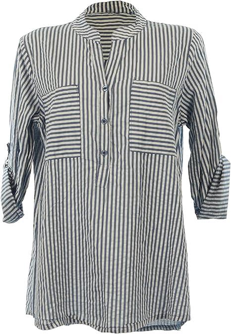 Moda Italy Camisas - Corte Imperio - Rayas - Cuello Mao - para Mujer Azul/Blanco 42: Amazon.es: Ropa y accesorios
