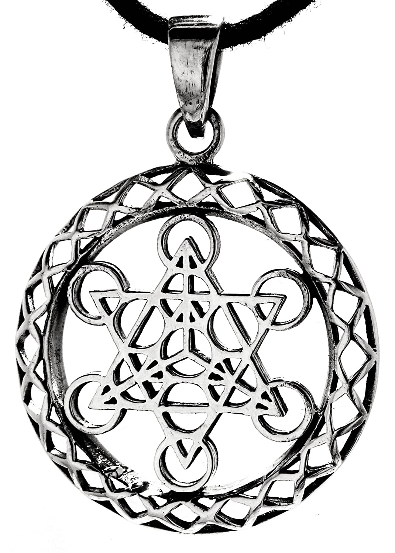 Metatrons Wü rfel Anhä nger aus 925 Sterling Silber mit Baumwollband Eastern Gems ABC-1277