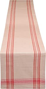Yourtablecloth Rustic Striped Table Runner – French Nautical Style – Available in Two Sizes – Minimalistic & Chic Table Décor. Red Striped, 14 x 72