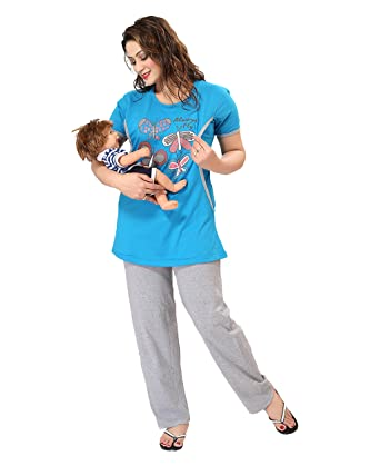 AV2 Women Cotton Graphic Feeding/Nursing/Maternity Top & Pyjama Set Pyjama Sets at amazon