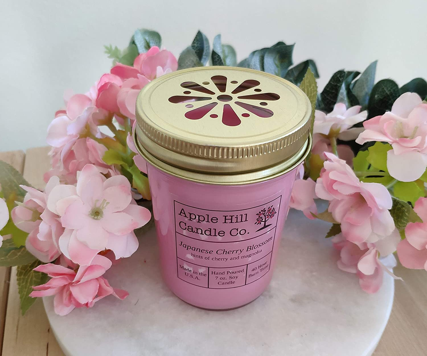 Apple Hill Candle Co Natural Soy Candle - Japanese Cherry Blossom 7 oz.   Perfect for Spring!   30-40 Hour Burn Time