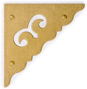 """CBH Ocean Wave Brass Corner Hardware 1.9"""" - Set of 2"""
