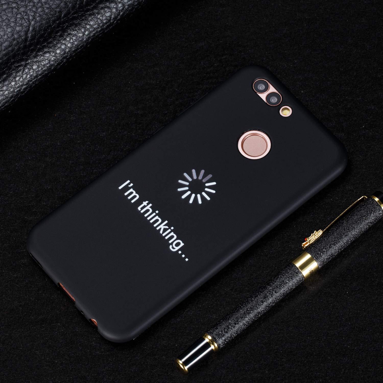 MoreChioce kompatibel mit Huawei Nova 2 H/ülle,kompatibel mit Huawei Nova 2 Handyh/ülle Schwarz,Kreativ Buch Linie Muster Weiche Silikon Kratzfest Hybrid Schutzh/ülle R/ückschale Tasche