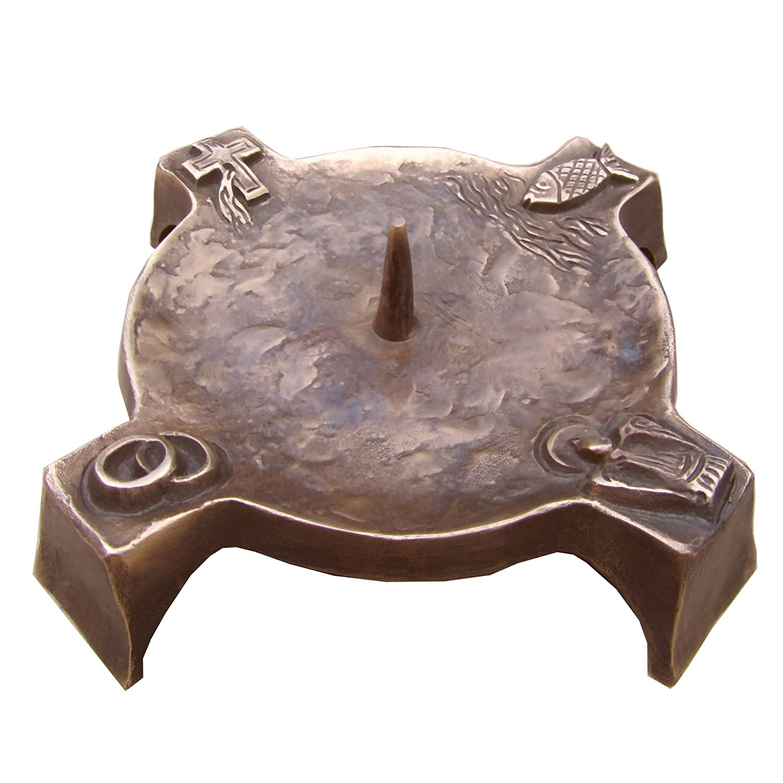 Wilde Taufkerzenleuchter Kerzenleuchter Leuchter 4 Symbole Bronze 17 cm Edelpatina braun