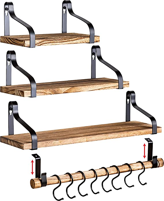 Clarke`s Decor - Floating Shelves - Wall Shelves - Set of 3 - Hanging Wood Shelves for Bedroom Bathroom or Kitchen - Wall Shelf with Hooks or Mug Rack - Small Home Rustic Bookshelf - Long Mounted Rod