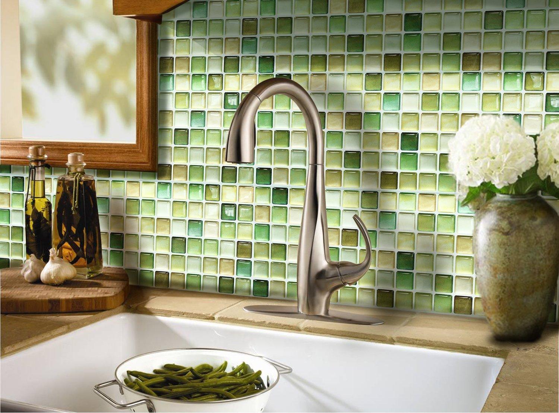 【 Dream Sticker 】モザイクタイルシール 12枚セット キッチン 洗面所 トイレの模様替えに最適のDIY 壁紙デコレーション ALT-13 グリーン N-Green 【 自作アートインテリア / ウォールステッカー 】 貼り方説明書付属 (12枚セット) B01FZI56BY12枚セット