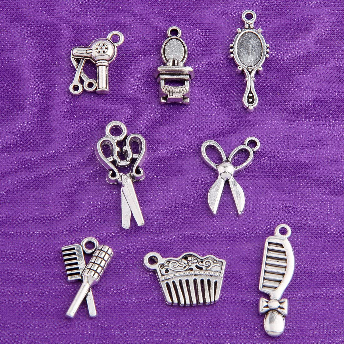 BNQL 16pcs Hairstylist Charm Collection for DIY Jewelry Making