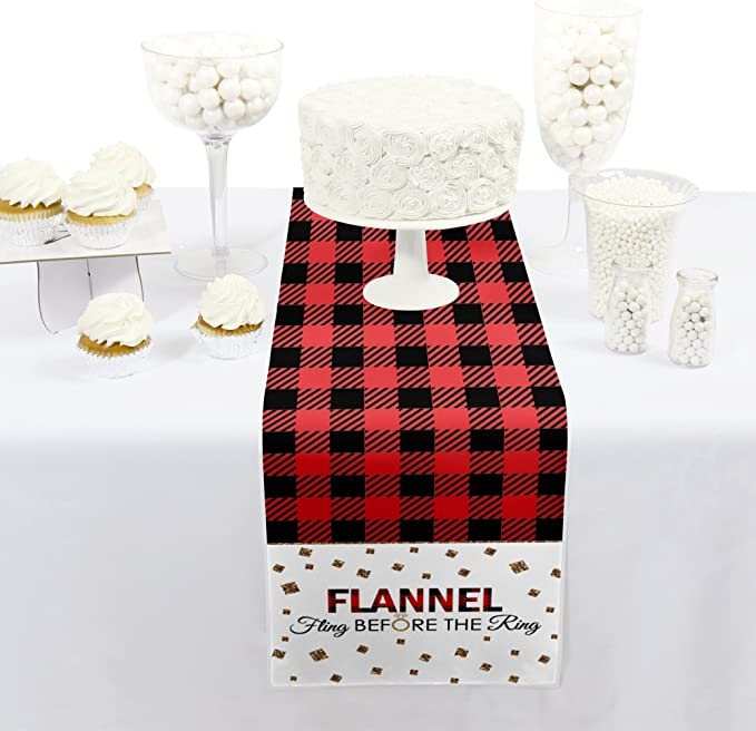 Big Dot of Happiness Flannel Fling Before The Ring Petite Buffalo Plaid Bachelorette Party Paper Table Runner 12 x 60