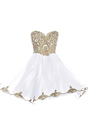 99Gown Prom Dresses Short Lace Prom Homecoming Dresses Affordable Beautiful Sparkly Dress, Color White,