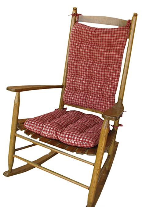 Tremendous Amazon Com Rocking Chair Pad Set Britt Red Plaid Rocker Squirreltailoven Fun Painted Chair Ideas Images Squirreltailovenorg