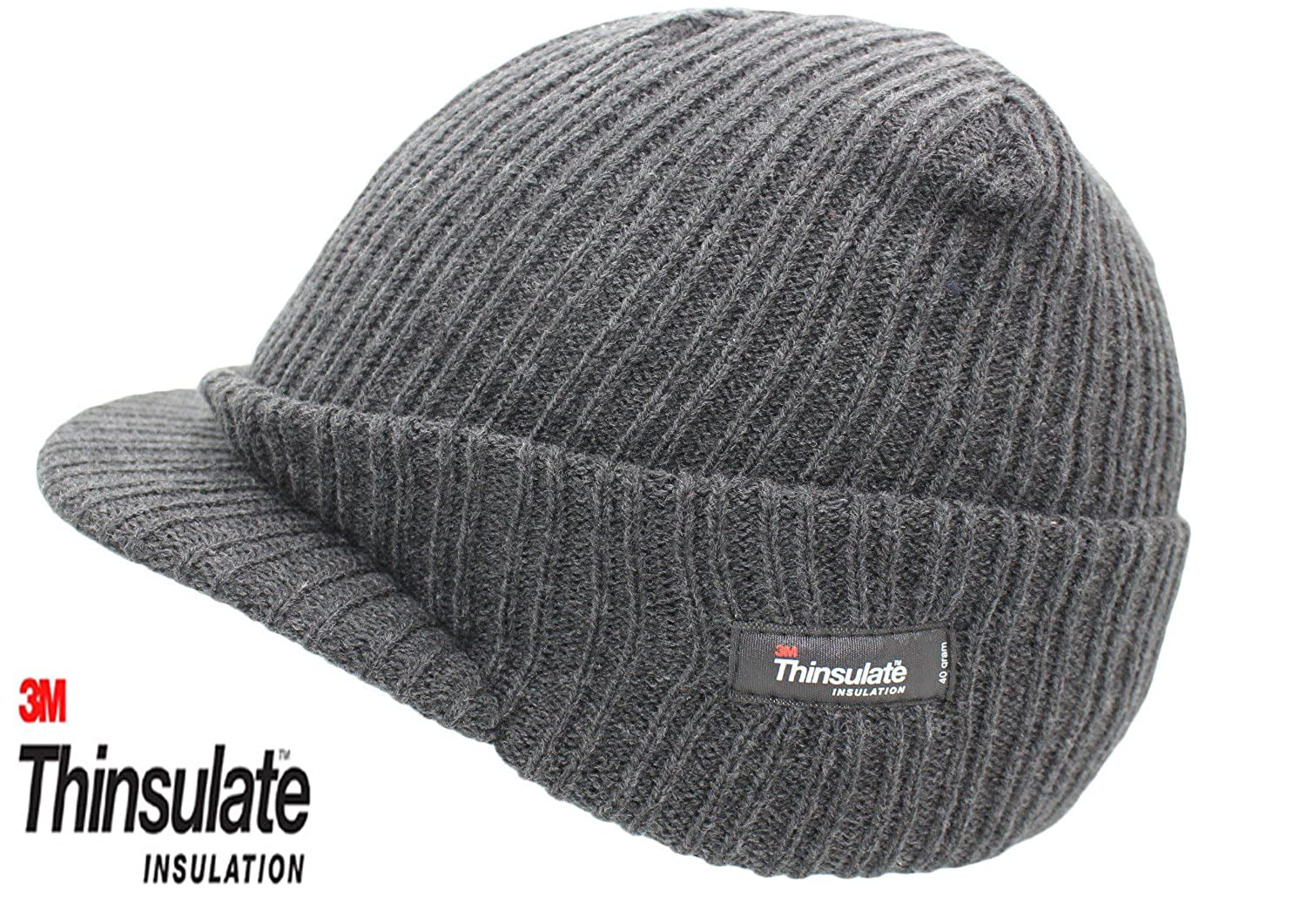 427c2f2d72d8d8 Mens Woolly Army Beanie Military Hat Cap Jeep Peaked Thinsulate Grey New:  Amazon.co.uk: Clothing