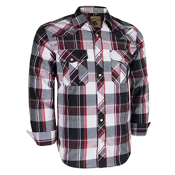 40baf92d838 Coevals Club Men's Long Sleeve Casual Western Plaid Snap Buttons Shirt (XL,  20#red,purple): Amazon.in: Clothing & Accessories