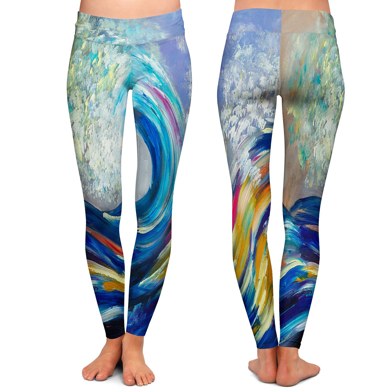 Athletic Yoga Leggings from DiaNoche Designs by Artist Lam Fuk Tim Wave Rolling Rainbow