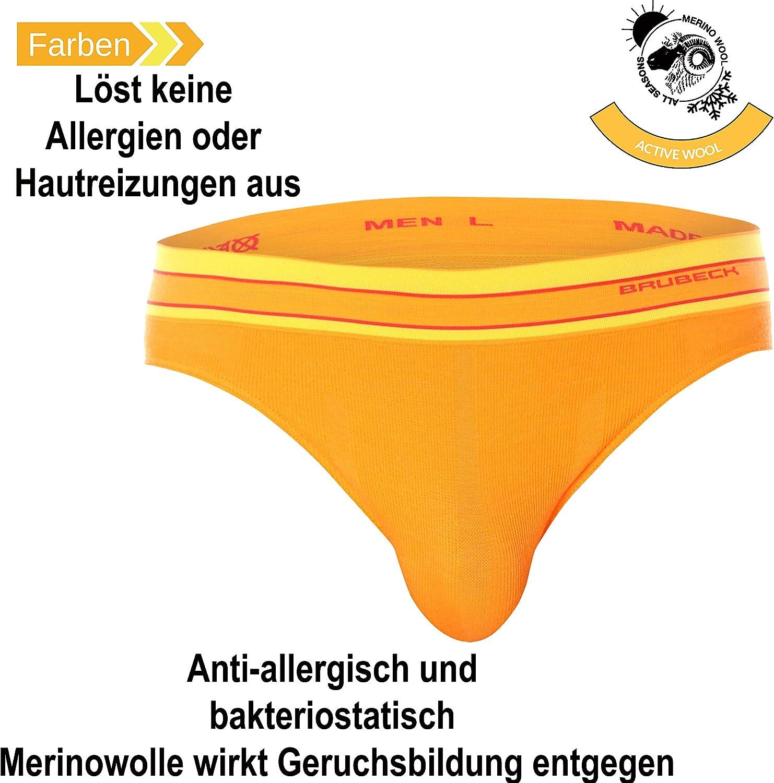 Unterhose Retro| 41/% Merino-Wolle Briefs Atmungsaktiv Sport BX10870 Funktions-Unterw/äsche Brubeck 3er Pack Merino Herren Boxershorts