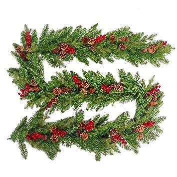 HENGMEI 300cm Weihnachtskranz Türkranz Dekokranz Weihnachtsgirlande PVC Tannengirlande Weihnachtsdeko Tannenkranz (A, mit gro