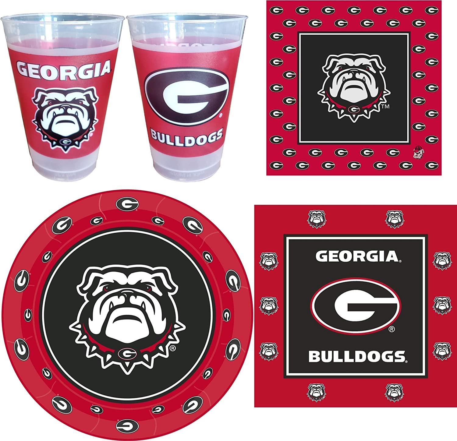 Georgia Bulldogs Party Supplies for 24 Guests - 113 Pieces