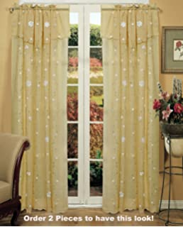 Daisy Embroidered Floral Window Curtain Panel 50x84 In 6 Colors