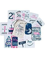 Lot de 50 Cartes Étapes Grossesse et 1ère Année de Bébé – Un Cadeau Original Mixte pour faire de jolies photos et écrire ses Souvenirs - Création Française