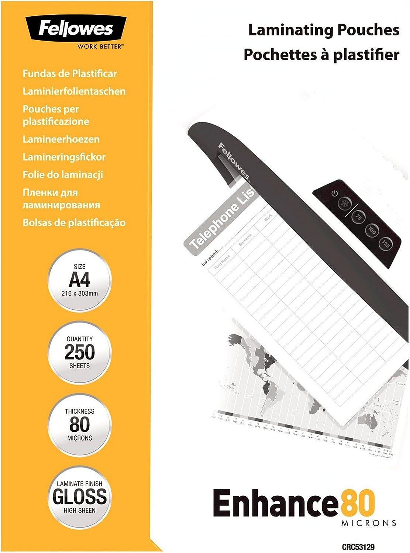 Fellowes 5312903 - Pack ahorro de 250 fundas de plastificar, formato A4, 80 micras: Fellowes: Amazon.es: Oficina y papelería
