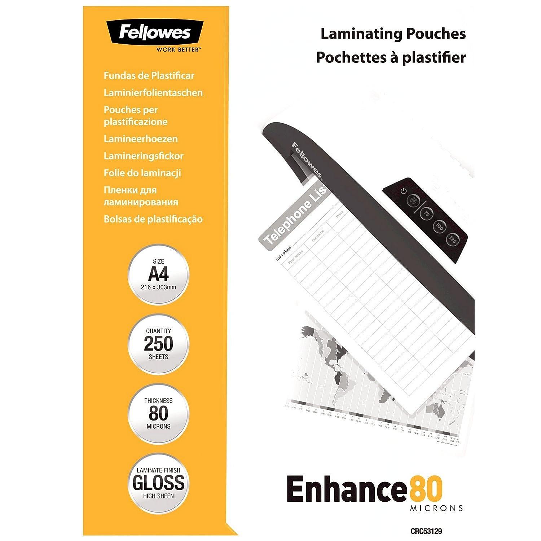 Fellowes 5312901 A4 Laminierfolien 80 Mikron im praktischen 250er Value Pack